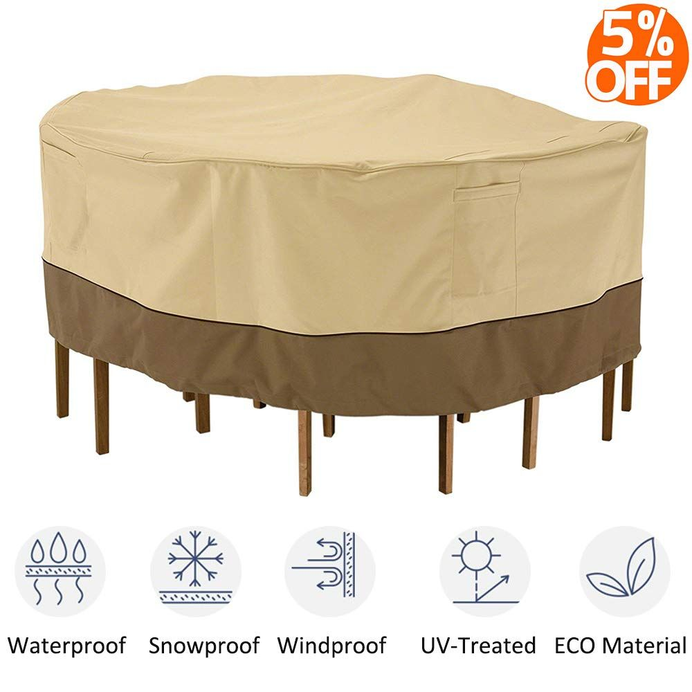 Kdgarden Outdoor Round Patio Table And 6 Chairs Set Cover Heavy Duty Waterproof 600d Large Furniture Set Round Patio Table Patio Furniture Covers Patio Table