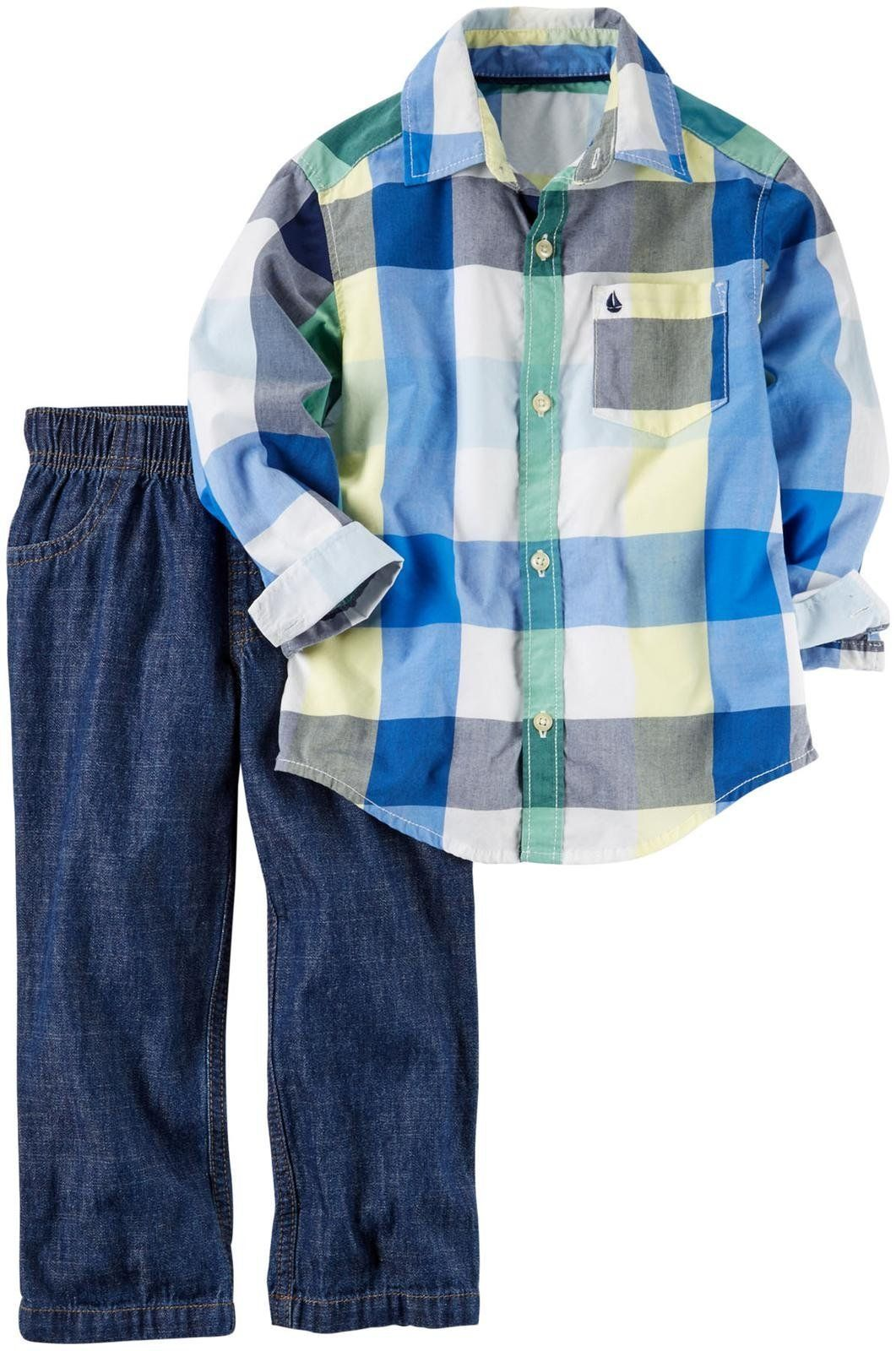 Blue flannel outfits for guys  Carters Boys  Pc Playwear Sets g Plaid T  Be sure to check