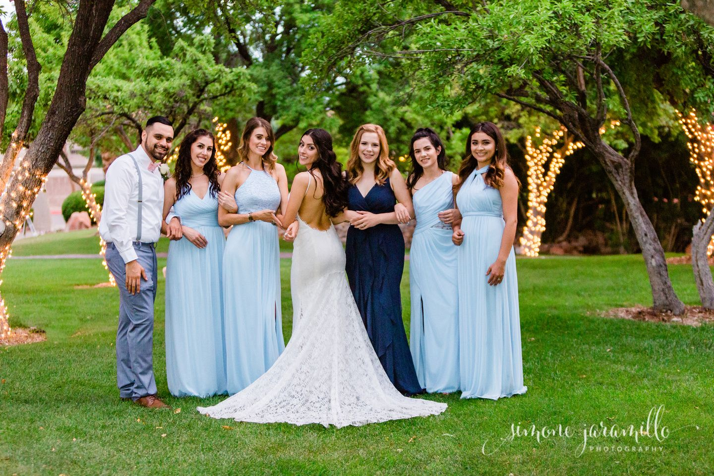 Formal Wedding photos with a twist. Blue and white wedding