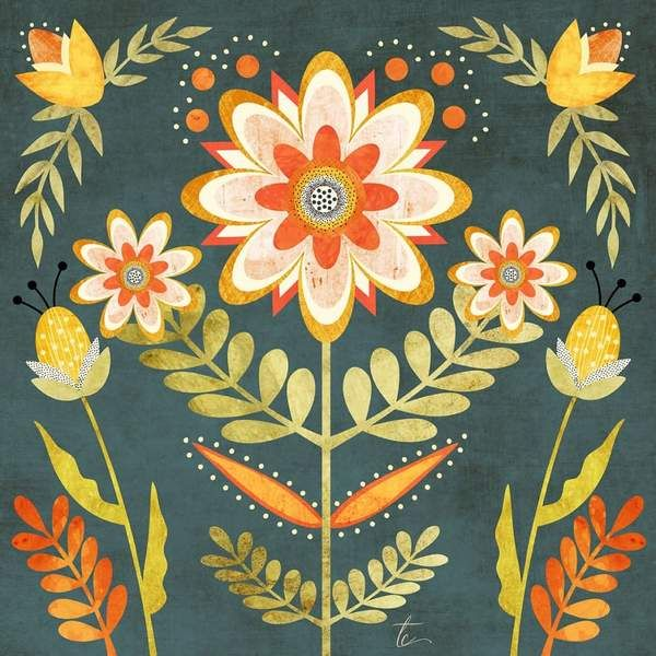Folk Art Floral Illustration | Colorful Wall Art Print