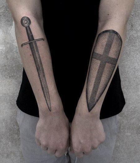 Top 70 Best Shield Tattoo Design Ideas For Men: Top 80 Best Knight Tattoo Designs For Men