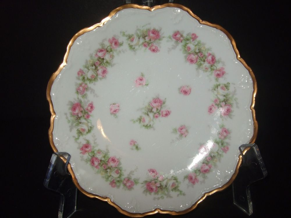 Antique limoges france coronet pink white rose 8 1/2\