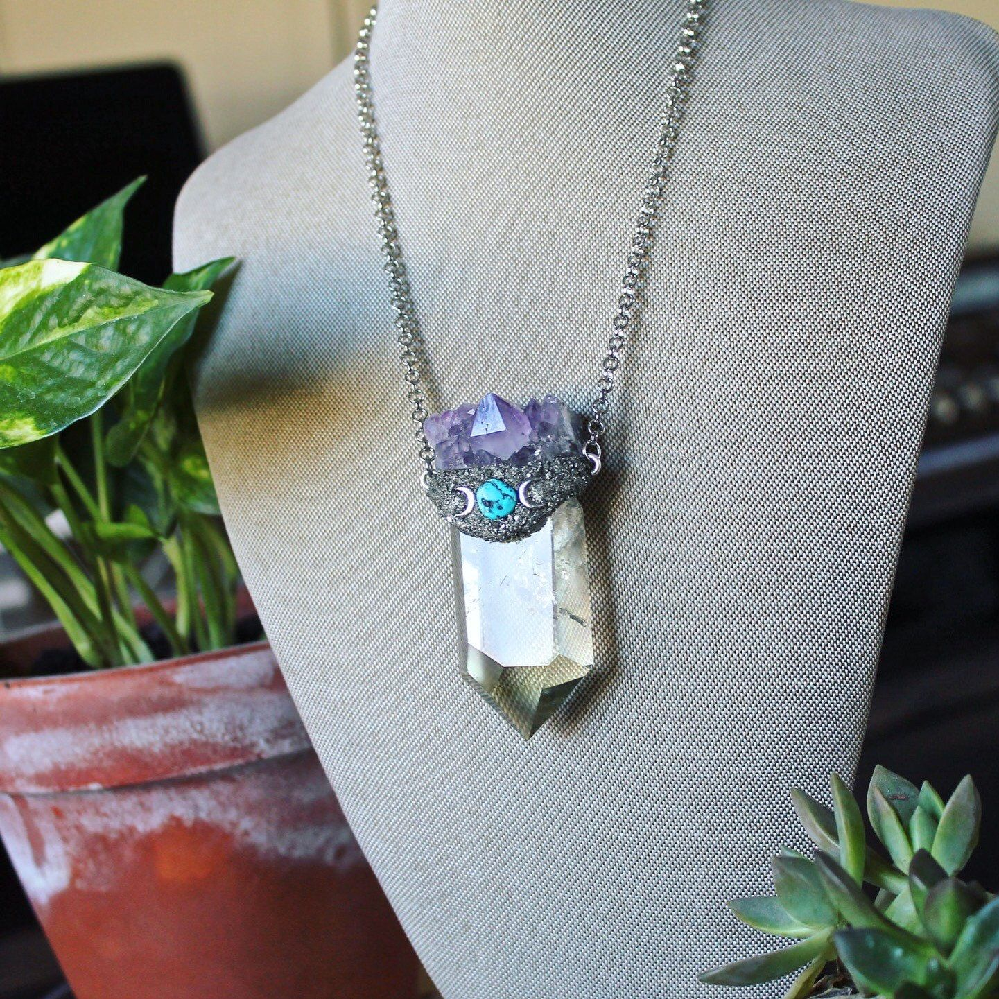 Triple Moon with Amethyest Natural Stone Necklace,Triple Moon,Goddess Necklace