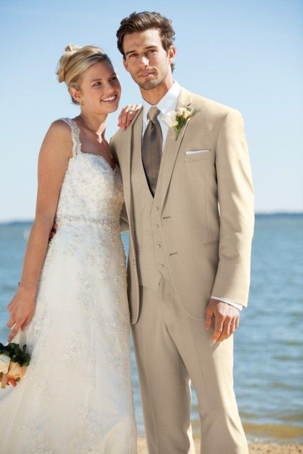 CUSTOM MADE LIGHT BEIGE GROOM TUXEDO BESPOKE BEIGE WEDDING SUITS ...