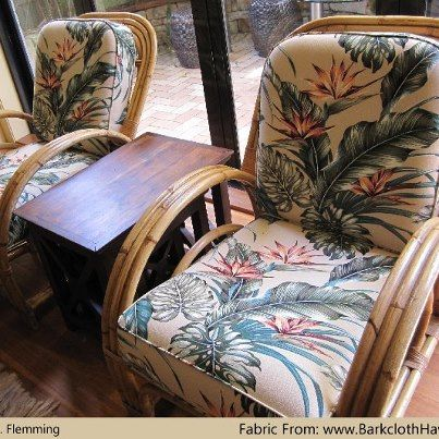 Elegant Just Loved How These Rattan Chairs Turned Out. Rattan And Hawaiian Fabric
