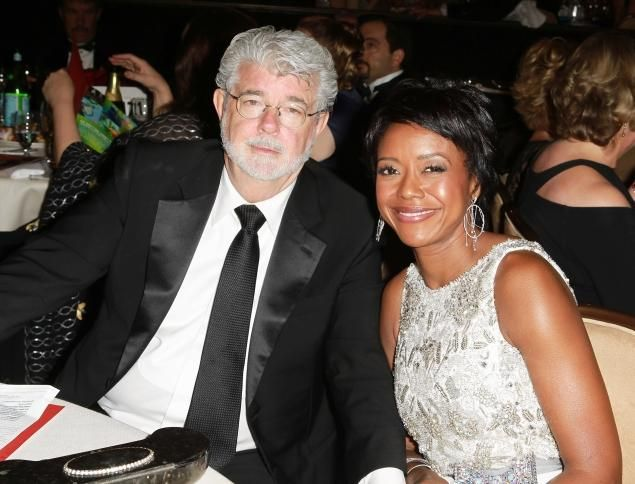 George Lucas Creator Of Star Wars His Lovely Wife Celebrity Weddings Wedding Dresses Lace George Lucas