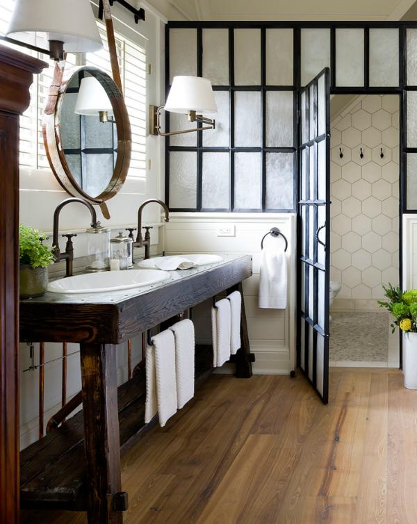 Meuble salle de bain bois : 35 photos de style rustique ...