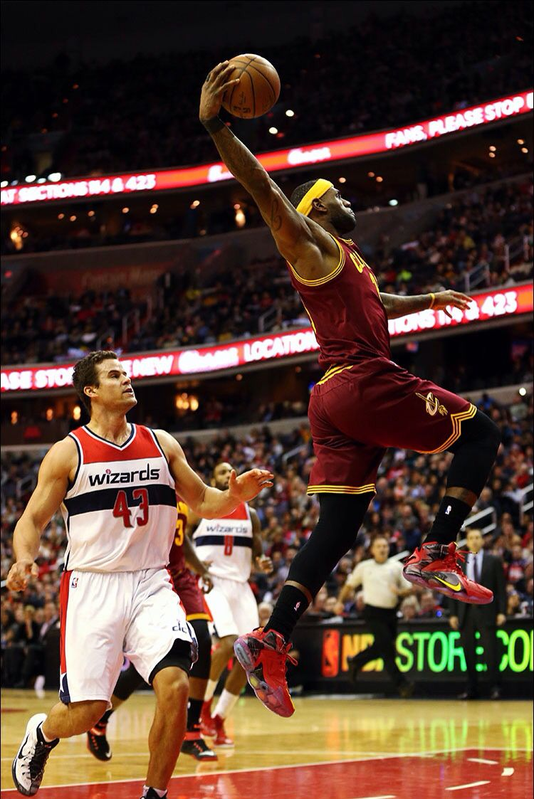 lebron goes up for the dunk 2 20 2015 vs the wizards cavs won 127