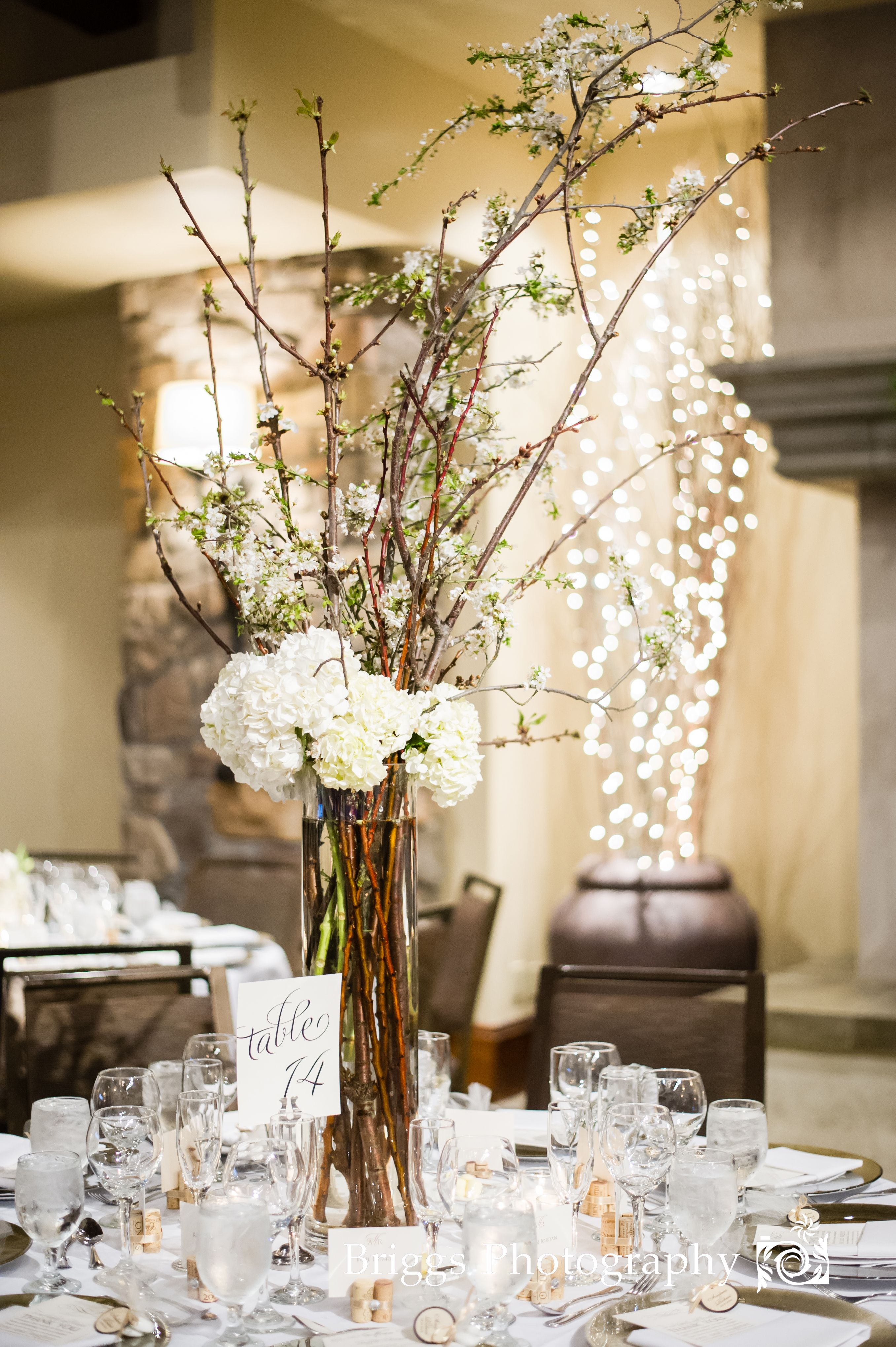 Tall Branches With White Blossoms With Hydrangeas Wedding Table Decorations Table Decorations Fall Wedding
