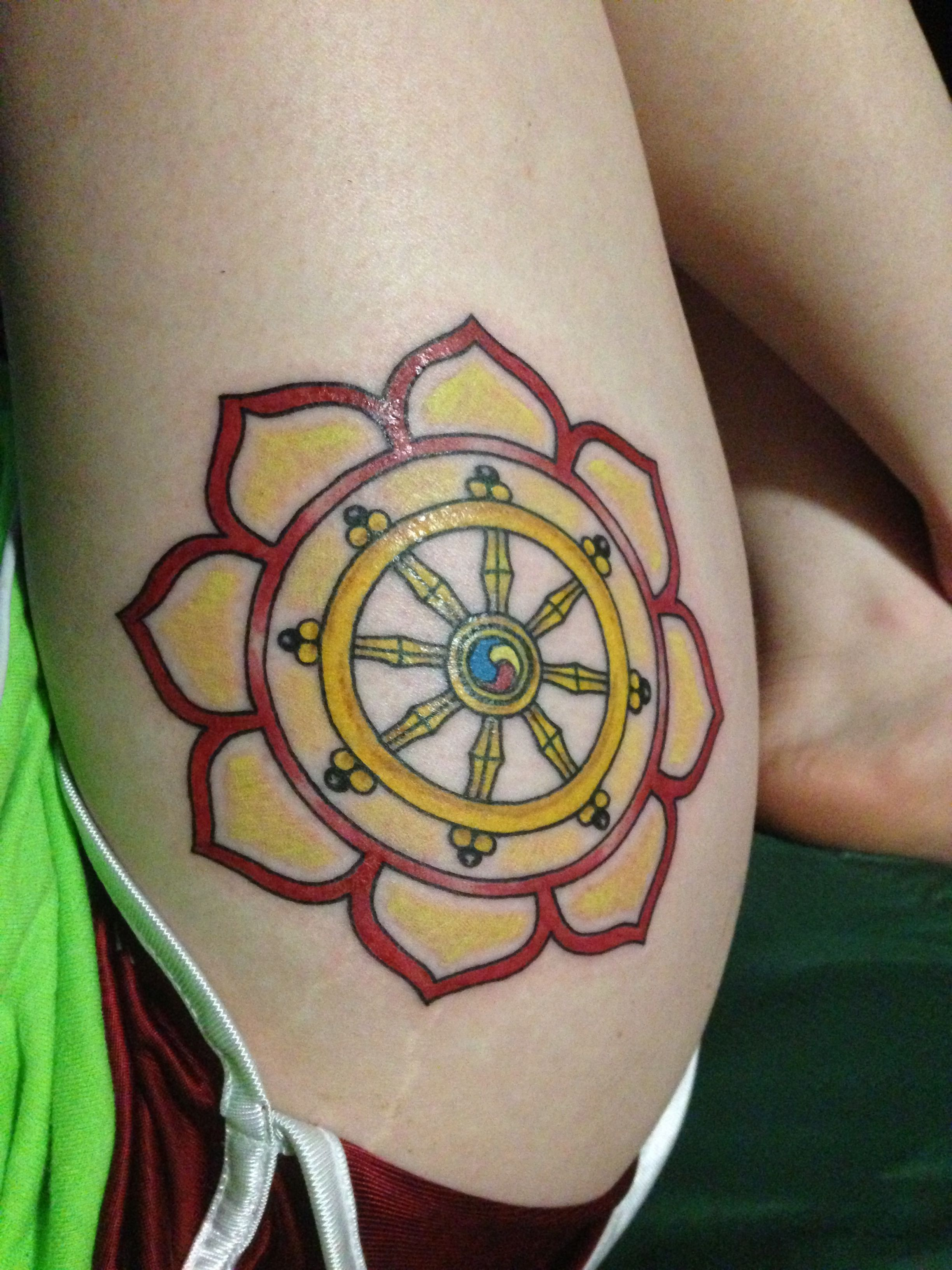 40 Dharma Wheel Tattoo Designs For Men – Dharmachakra Ink Ideas picture