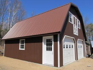 24x28 Garage w/ Gambrel Attic Truss | Adirondack Storage Barns