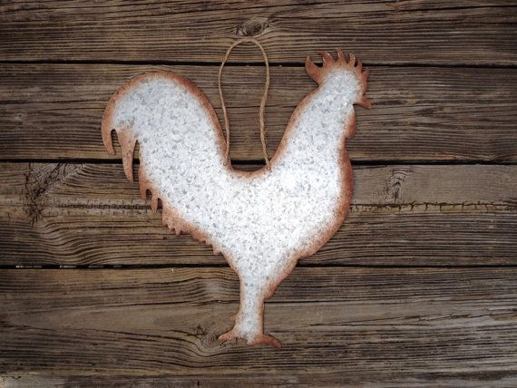 Large Galvanized Metal Rooster Wall Hanging Country By Peacebabys