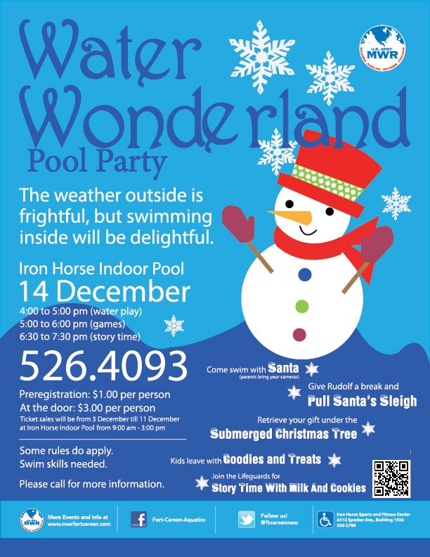 Indoor Pool Party Ideas swimming party las vegas offering indoor pool Fort Carson Aquatics Water Wonderland Christmas Pool Party On Dec 14 At The Iron Horse