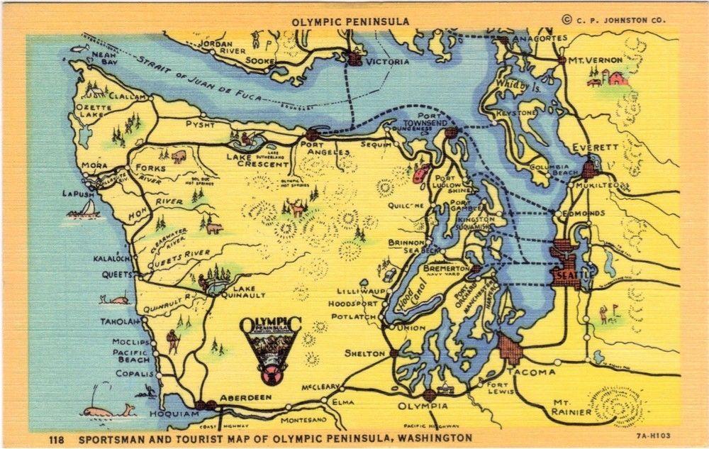 Vintage Washington State Postcard Sportsman And Tourist Map Of: Map Of Olympic Peninsula Washington State At Codeve.org