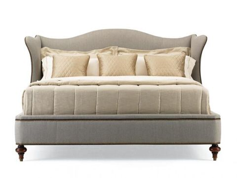 Hickory White   Upholstered Wingback Bed King   735 21