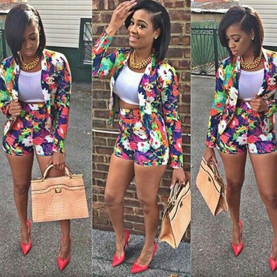Floral Print Long Sleeve Blazer And High Waisted Skinny Shorts