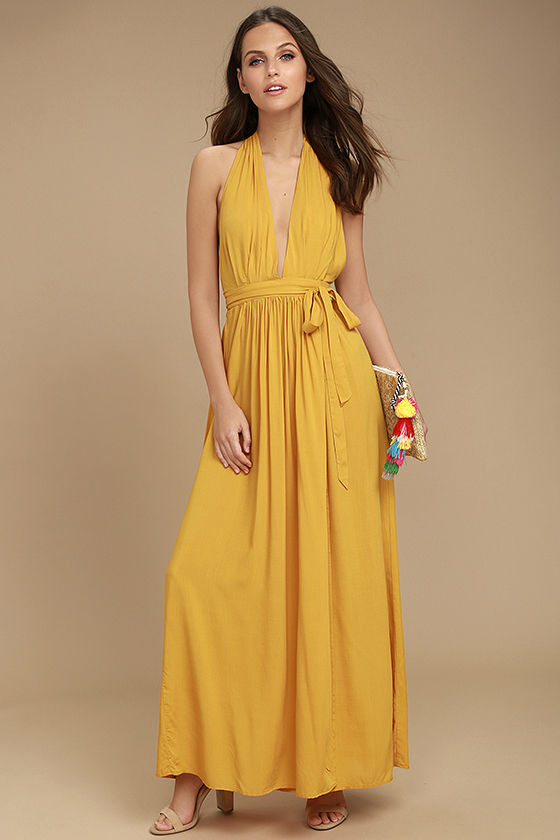 01181c2c80f6a8 Each step and sway in the Magical Movement Mustard Yellow Wrap Maxi Dress  will bring a compliment your way! Lightweight woven rayon starts at an  elasticized ...
