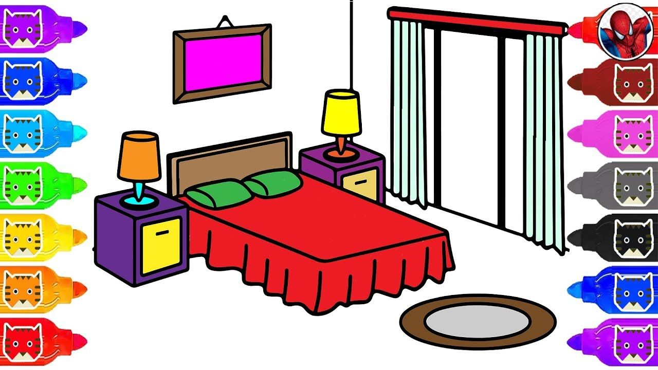 Learn Color For Kids With Bedroom Colour How To Drawing Coloring Page Colorful Drawings Drawing For Kids Kids Printable Coloring Pages