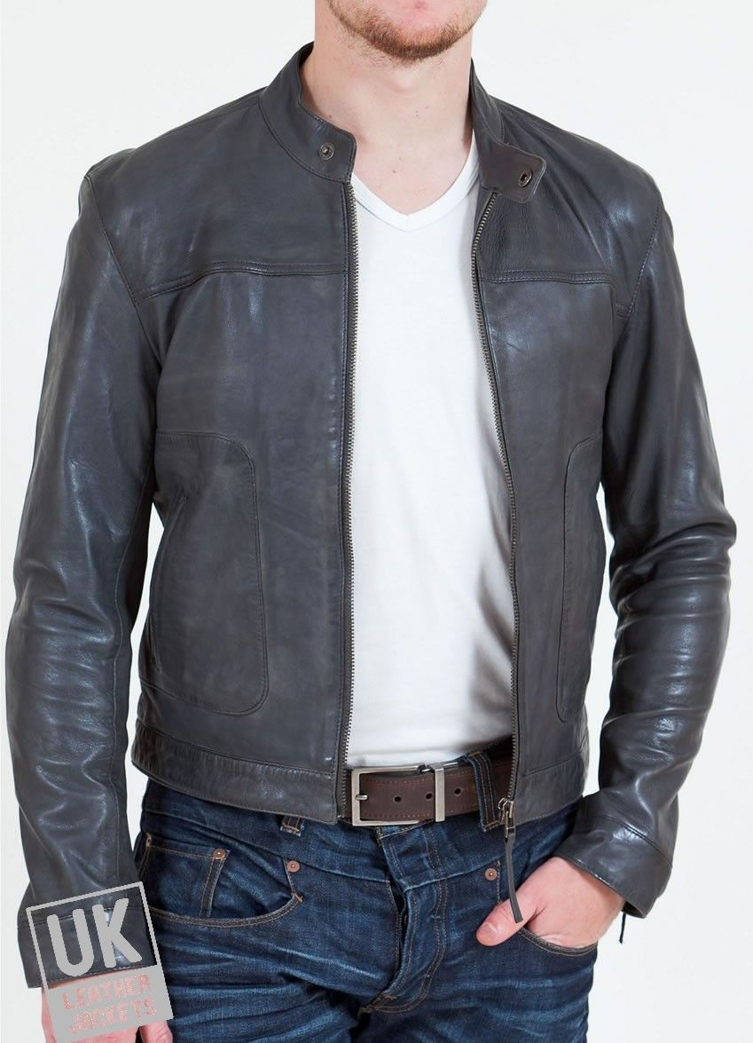 Mens Grey Leather Biker Jacket Zenith UK LJ Mezclilla