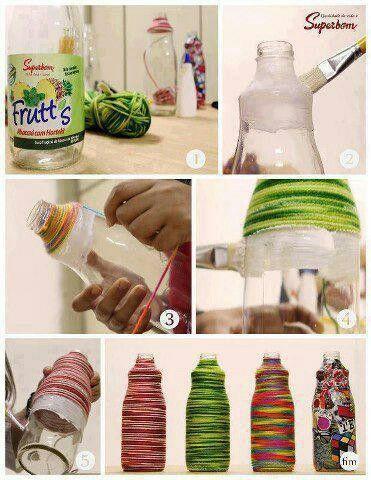 Diy Art Thread Bottle Bricolage Avec Bouteille Decorer Bouteille Plastique Astuce De Fille