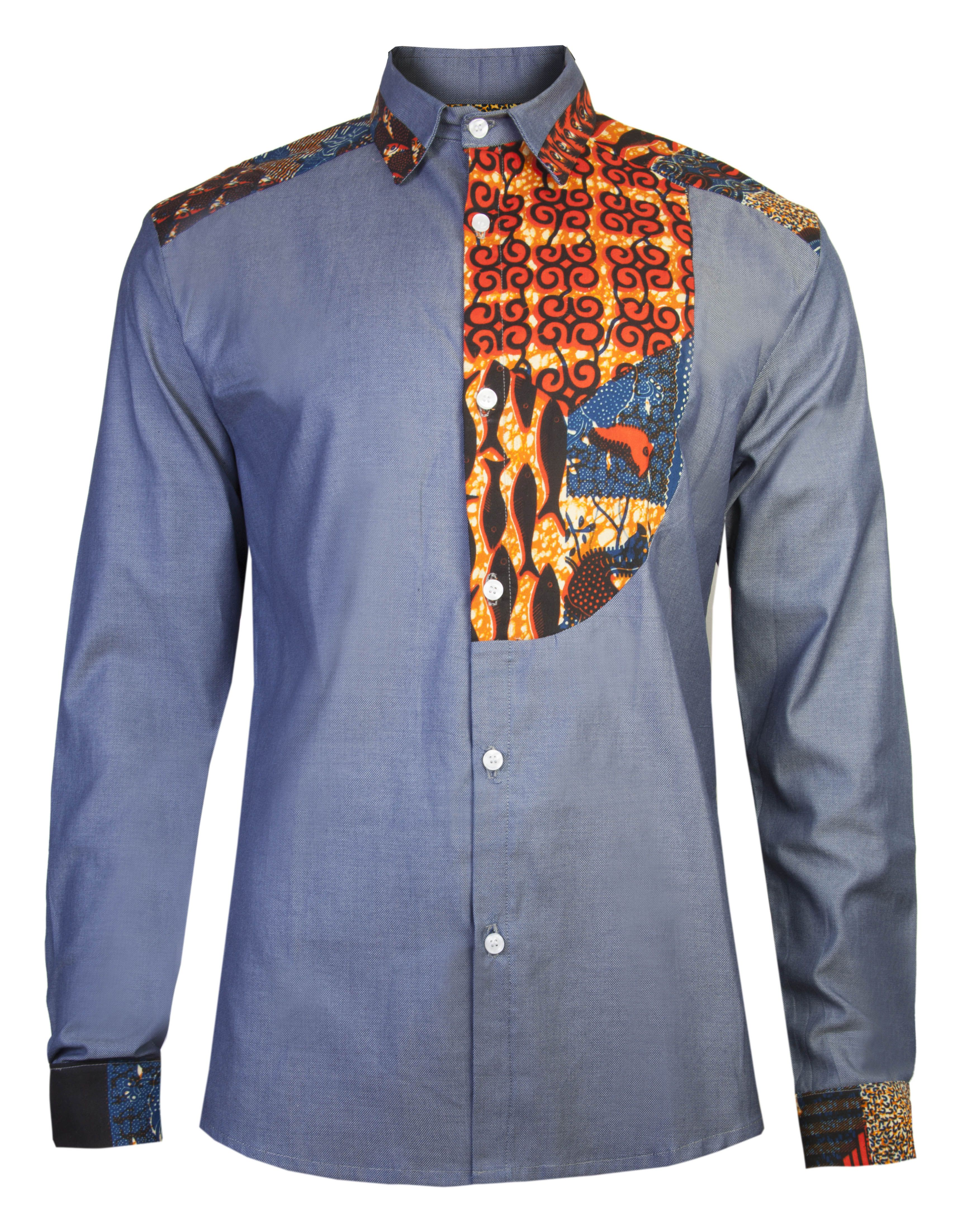 Men S African Print Shirt Slim Fit Half Bib Front Detail