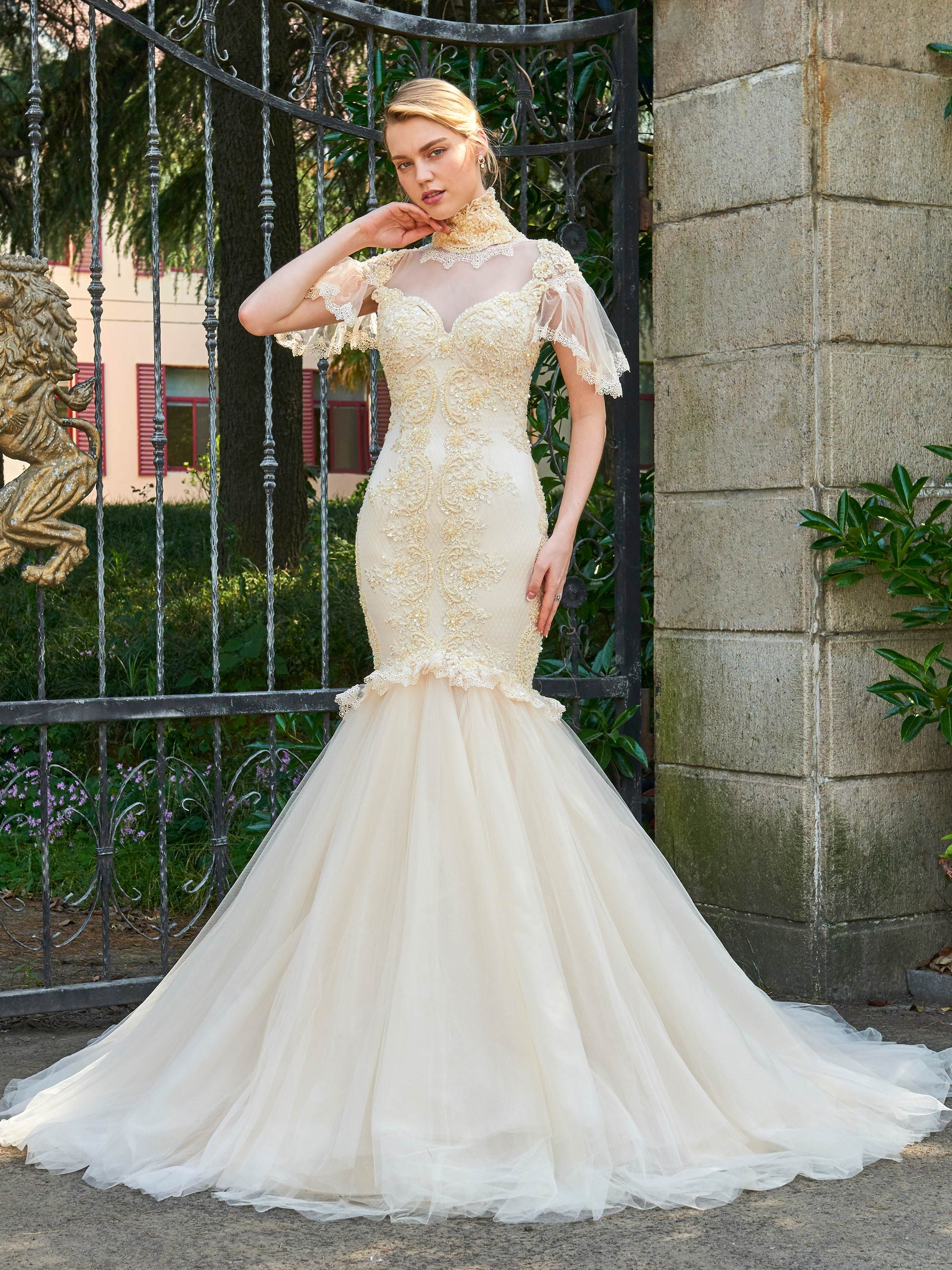 High Neck Cap Sleeves Appliques Sheer Back Wedding Dress