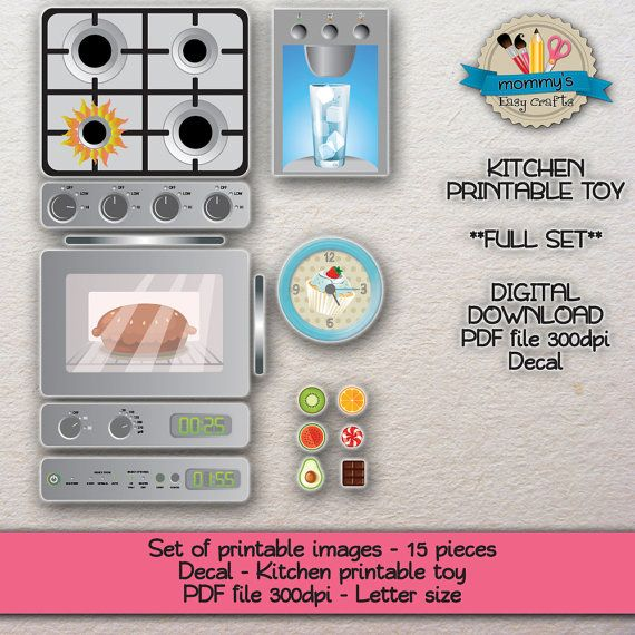 DIGITAL DOWNLOAD - Set of printable images - Toy kitchen - 15 pieces ...
