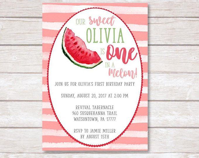 one in a melon birthday invitation template 1st birthday party