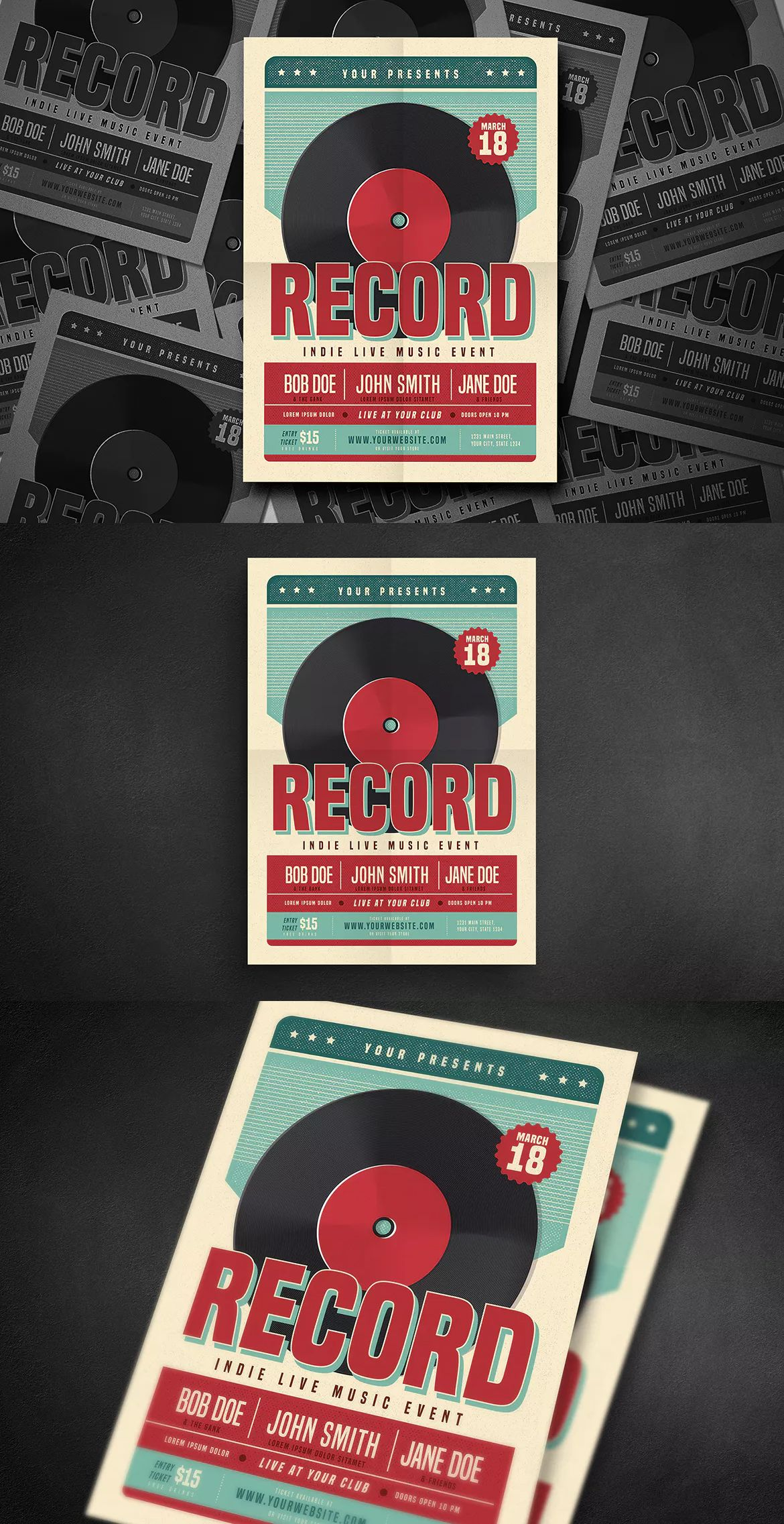 Retro Vinyl Music Flyer Template Ai Psd  Flyer Design Templates