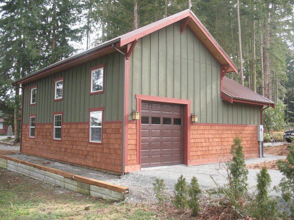 A Post Frame Garage W Cedar Siding And Metal Roof By Spane Buildings Inc Yelp Metal Building Homes Barn Builders Pole Barn Builders