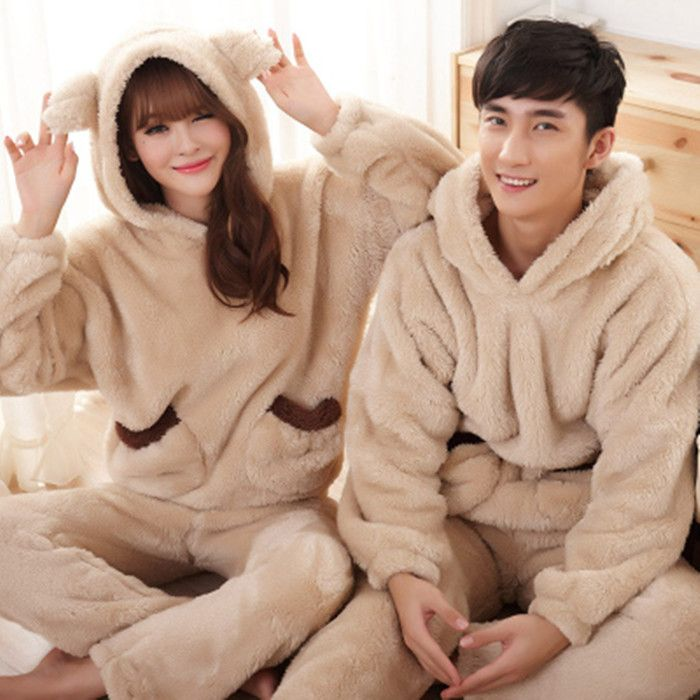 Coral fleece winter thick warm Korean men and women couple Pajamas cute  bear plush hooded clothing suits 8ae68b90e