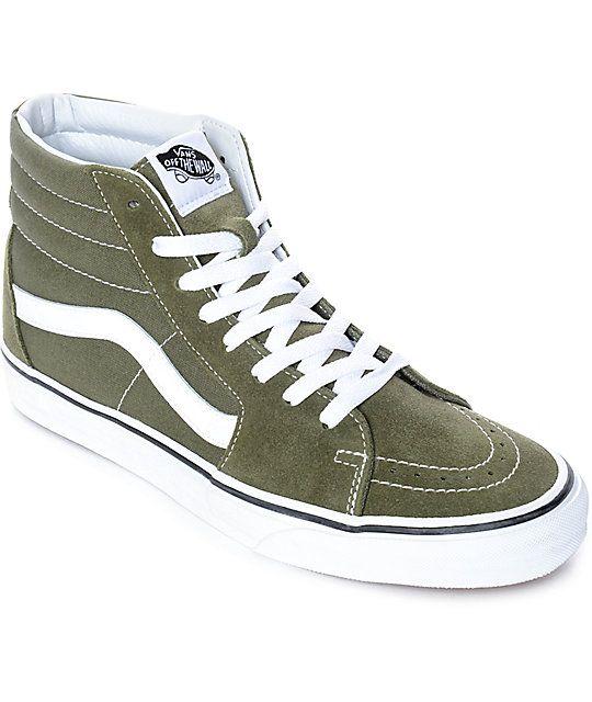 b6bdcc2d01 Vans Sk8-Hi Winter Moss Green   White Skate Shoes in 2019