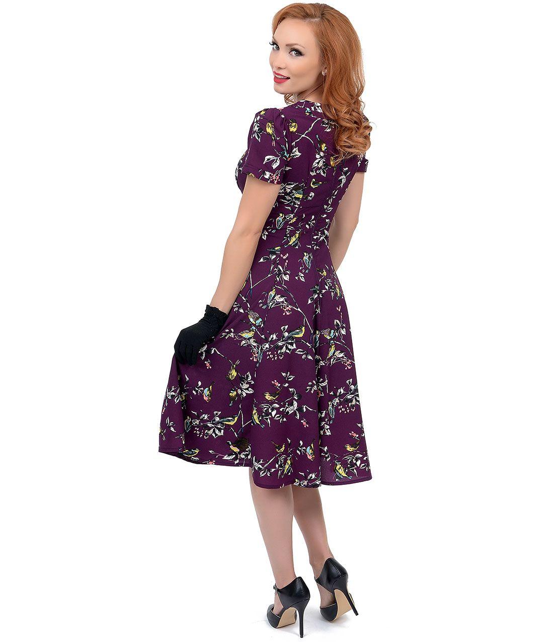 Hell bunny s style aubergine birdy swing dress secretary
