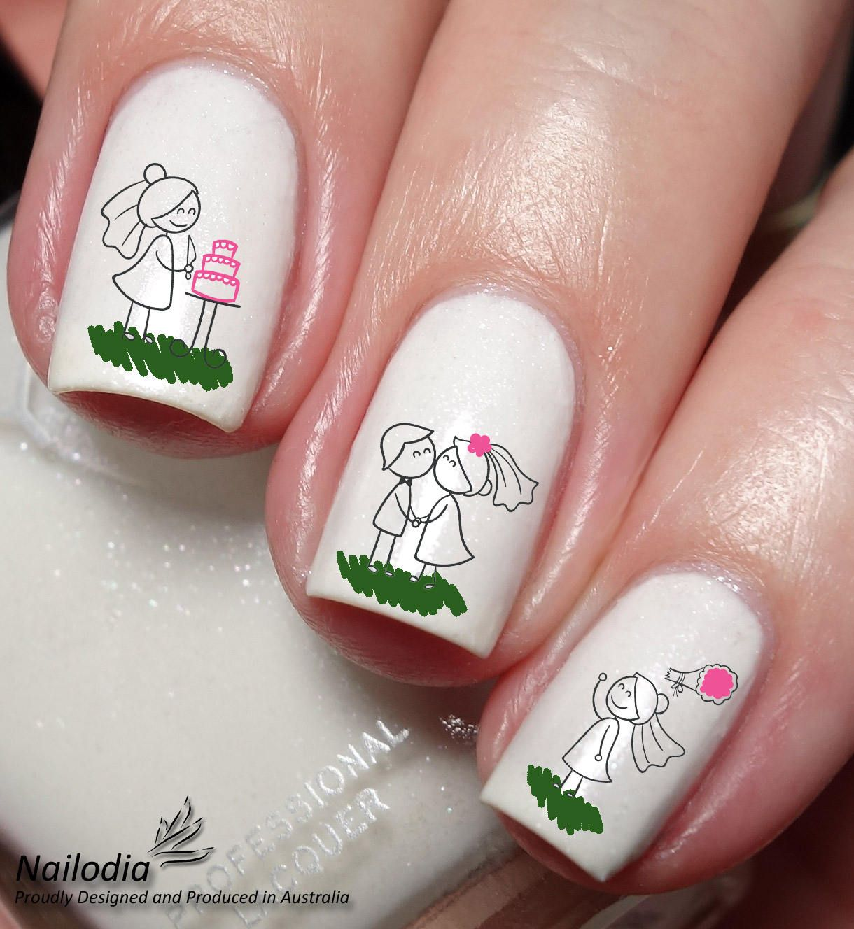 Stick Figure Wedding Love Nail Art Sticker Water Transfer Decal By Nailodia On Etsy Nail Art Nails Nail Art Stickers
