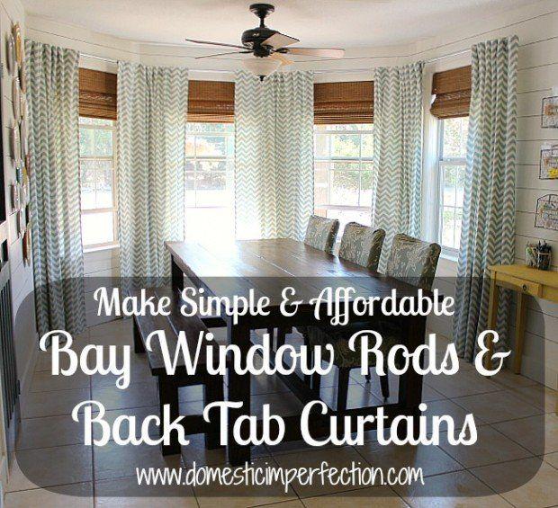 DIY Bay Window Curtain Rod Back Tab Curtains Diy CurtainsDining Room