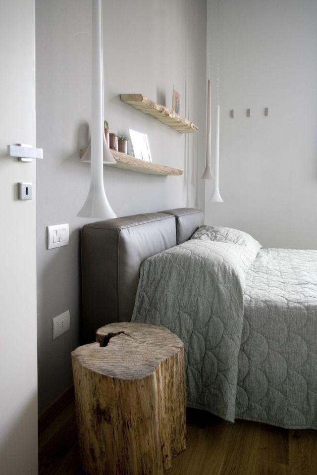 schlafzimmer modern gestalten-graue-wandfarbe-pendelleuchten-holz - schlafzimmer modern holz