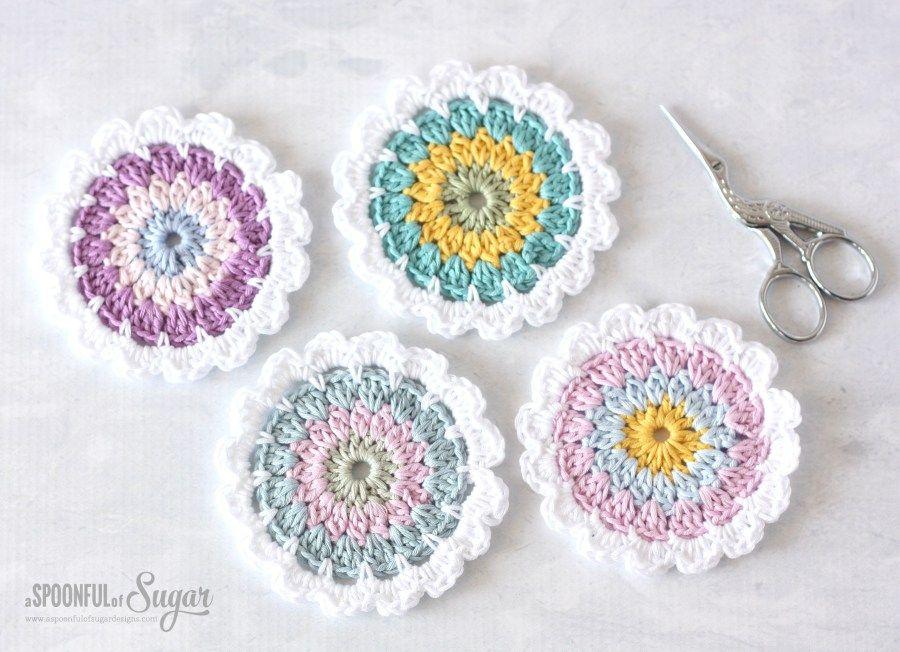 Flor del modelo Coaster ganchillo | portavasos crochet | Pinterest ...