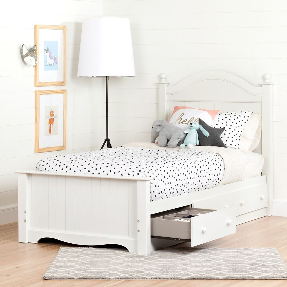 Savannah Twin Bed Set with 3 Drawers (39''), Pure White