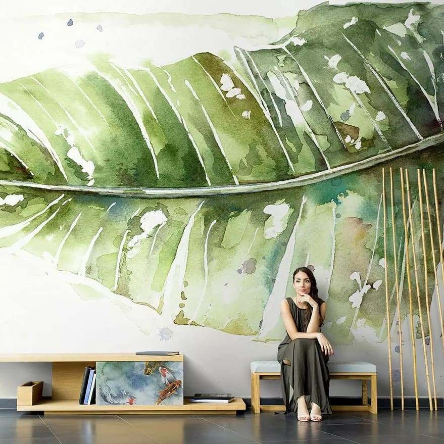 Sulu Boya Buyuk Yesil Tropikal Yaprak Desenli Duvar Kagidi 2020 Mural Tropikal Egzotik Cicekler
