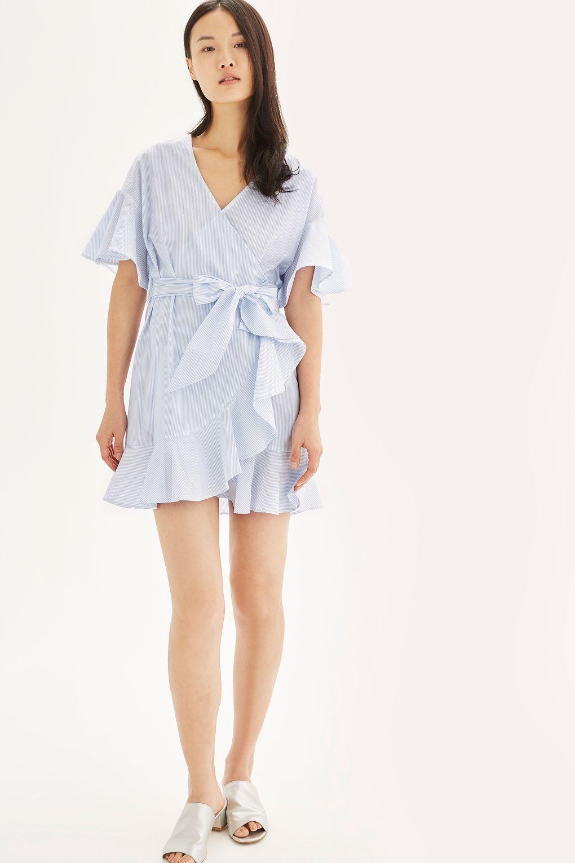 Stripe Wrap Dress With Ruffle Detail - Blue stripe Influence YAfiLA6G18