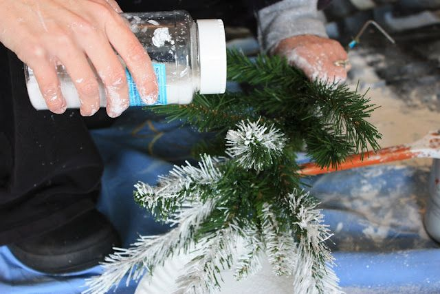 diy flocking your own christmas tree with paint and glitter christmas tradition childhood memory