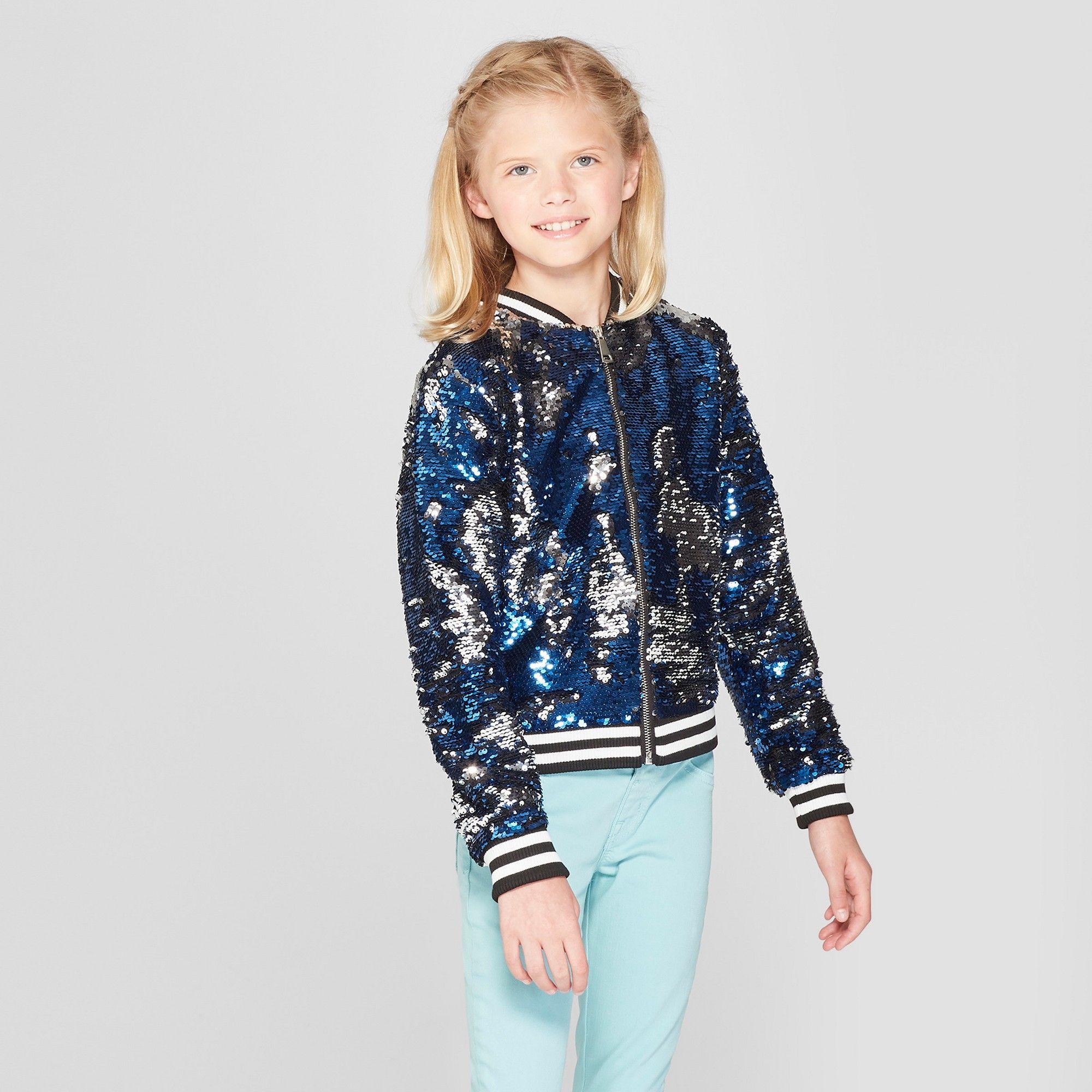 4b8dface Girls' Nickelodeon JoJo's Closet Flip Sequin Bomber Jacket - Blue/Silver S