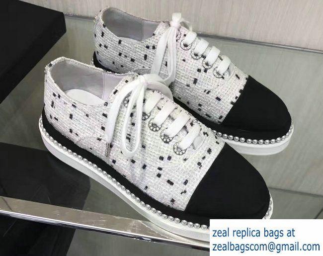9d440993d9d1 Chanel Pearl Grosgrain Lace-ups Shoes Tweed White 2017