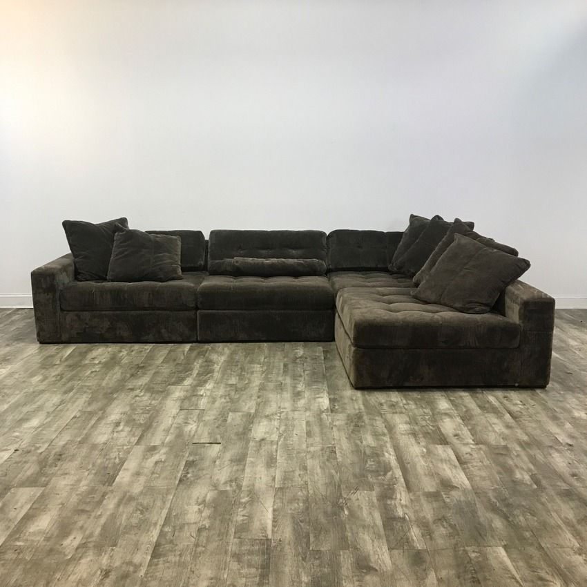 Charcoal Velvet 3 Piece Corner Sectional Sofa by Roys ...