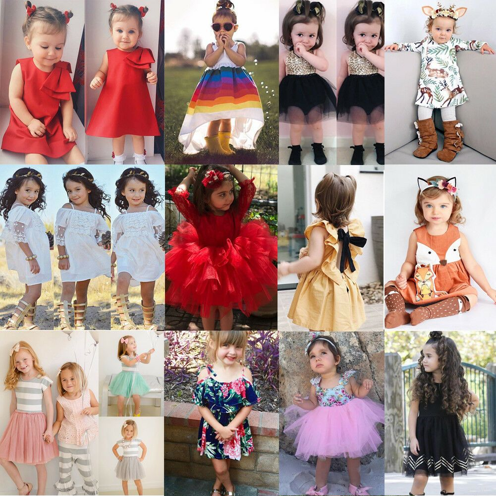 Baby Girl Floral Dress Kid Party Wedding Pageant Formal Prom Princess Tutu Dress