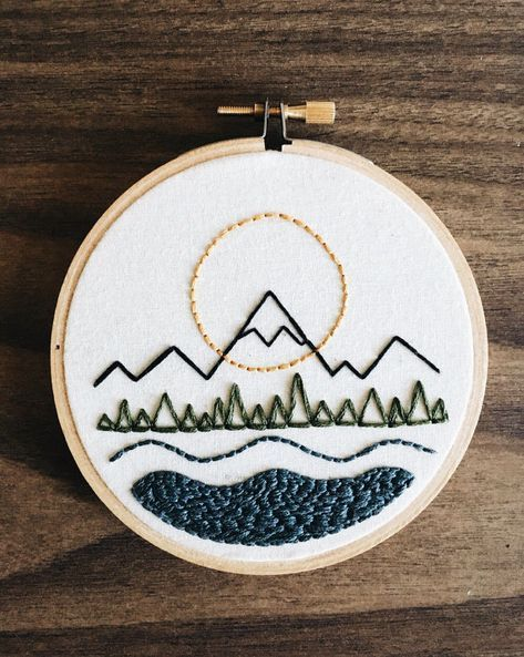 Embroidery / hoop art / mountains #embroidery