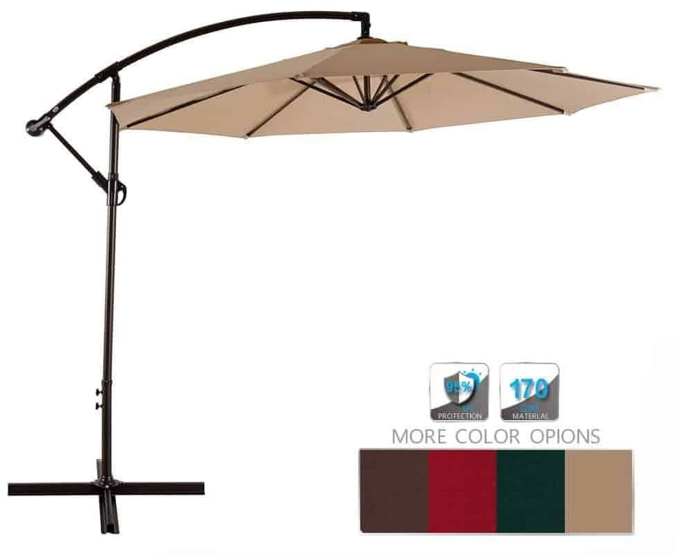 AMT Adjustable Offset Cantilever Hanging 10' Patio Umbrella - AMT Adjustable Offset Cantilever Hanging 10' Patio Umbrella Top 10