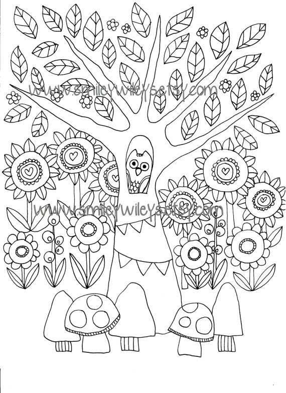 Happy Garden Printable Colouring Book Pages Set Of 5 Different Pages Printable Coloring Book Coloring Books Coloring Book Pages