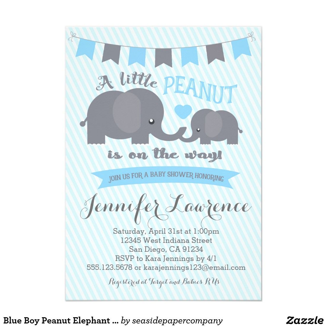 Blue Boy Peanut Elephant Baby Shower\' invitation......Cute little ...