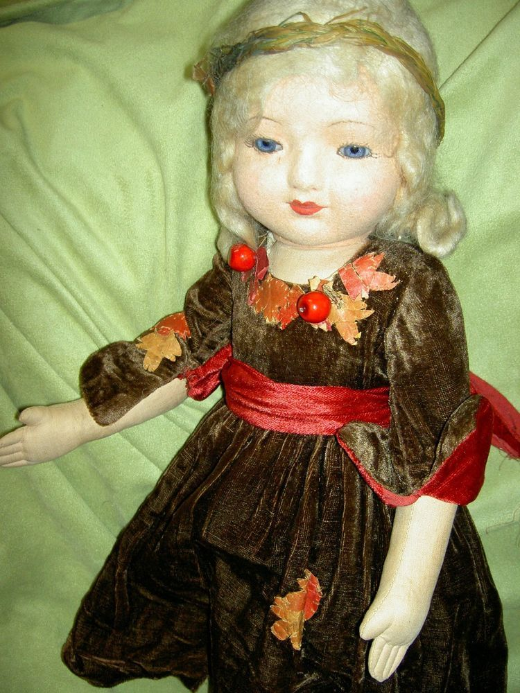 """RARE 22"""" antique cloth lbd: CHAD VALLEY Sleeping Beauty doll glass eyes a/orig."""